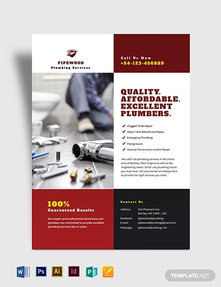 plumbing service flyer template 2