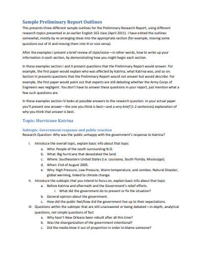 priliminary outline report sample