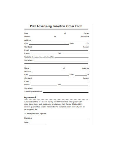 print advertising insertion order form