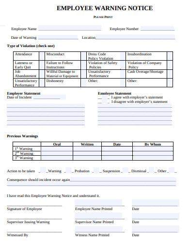 printable employee warning notice format