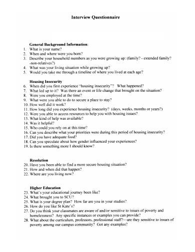 printable interview questionnaire template1