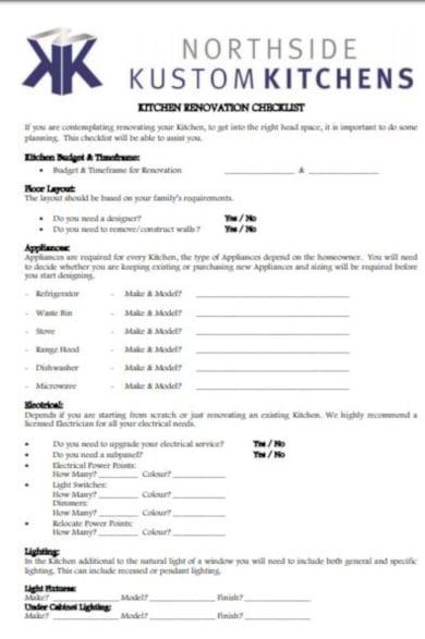 10 kitchen checklist templates google docs word pages. Black Bedroom Furniture Sets. Home Design Ideas