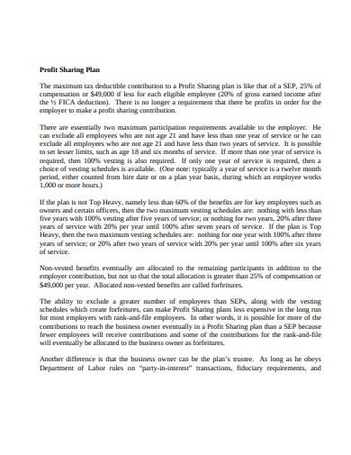 printable profit sharing plan template