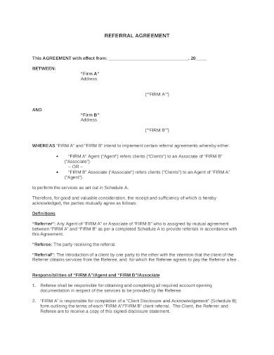 printable referral agreement template