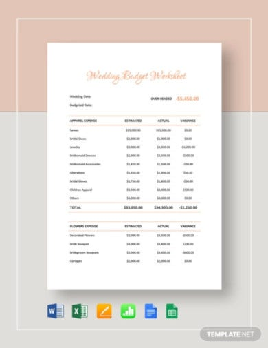 printable wedding budget worksheet template