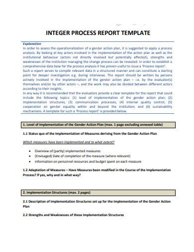 process of integer report template