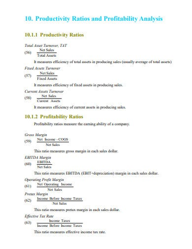 productivity ratios and profitability analysis