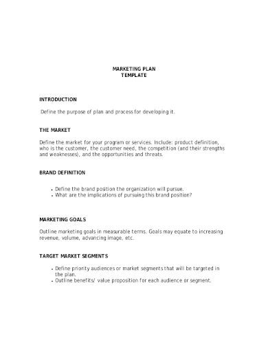 professional marketing plan template