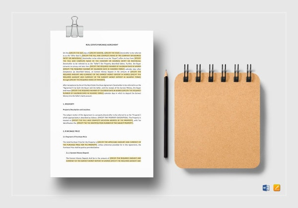 professional real estate purchase agreement template