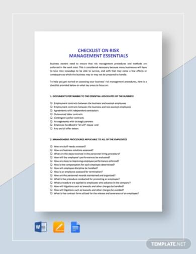 professional risk checklist template