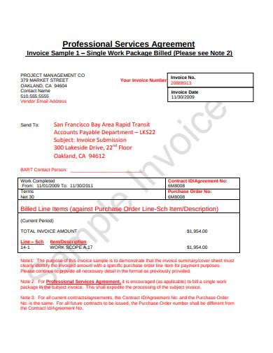 professional service invoice template
