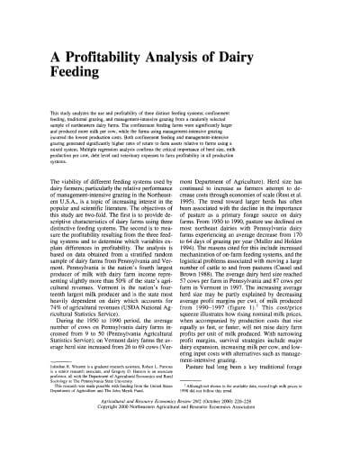 profitability analysis of dairy feeding template