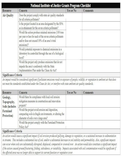 project grant checklist template