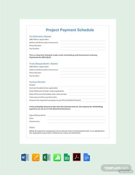 project payment schedule template1