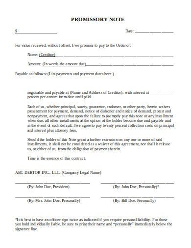 promissory note in pdf