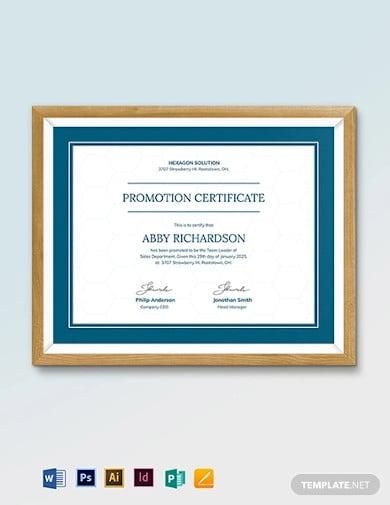 promotion certificate template