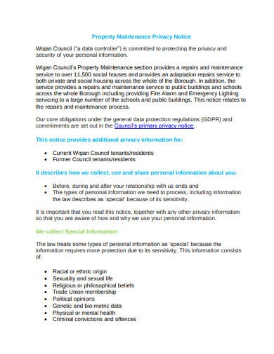 property maintenance privacy notice template