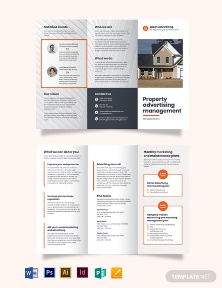 property management advertising tri fold brochure