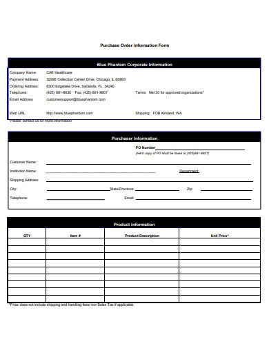 purchase order information form