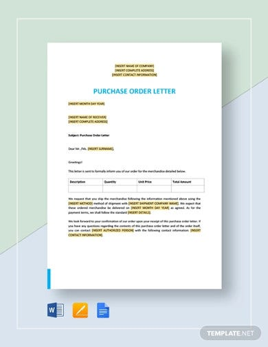 purchase order letter template6