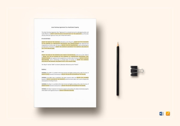 real estate asset purchase agreement template