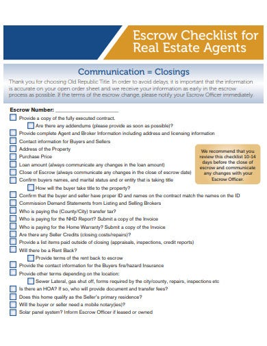 real estate checklist for agents format