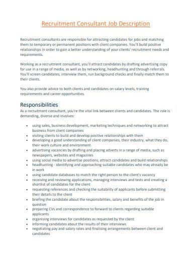 recruitment consultant job description