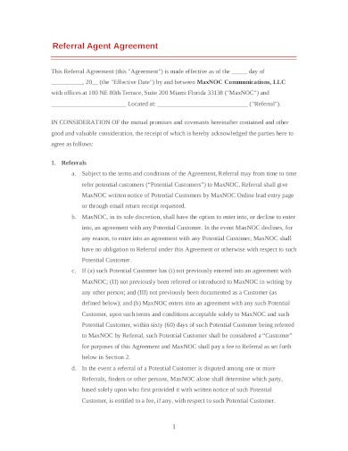 referral agent agreement template