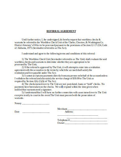 referral agreement in doc
