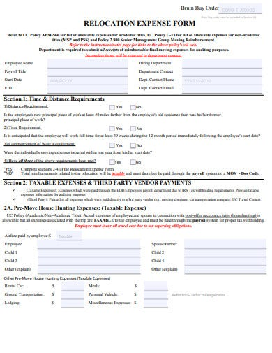 relocation expense form template
