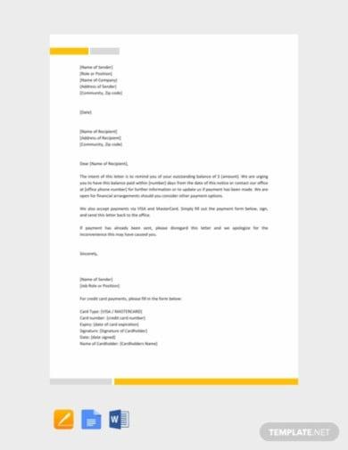 reminder letter format template