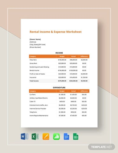 rental income expense worksheet template2