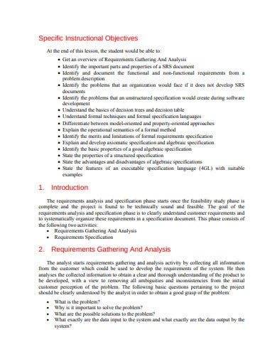 requirements analysis in pdf
