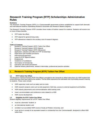 research training program