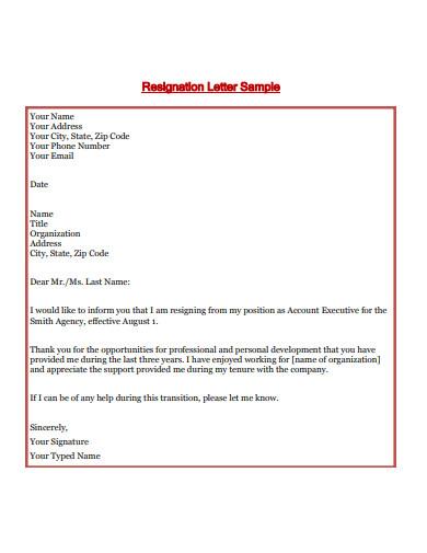 resignation letter sample1