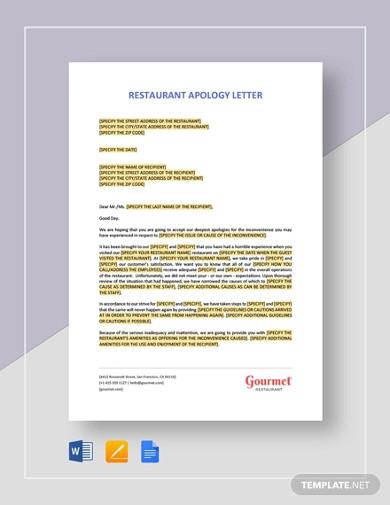 restaurant apology letter template