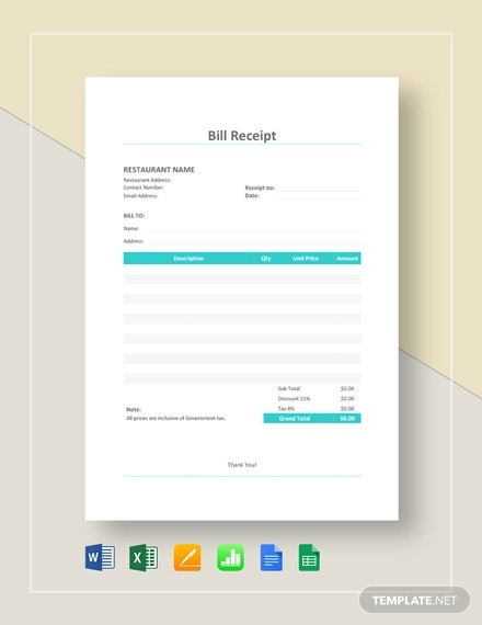 restaurant bill receipt template