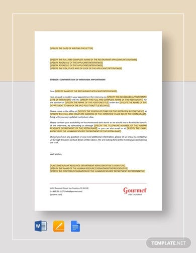restaurant-confirmation-of-interview-appointment-letter-templates