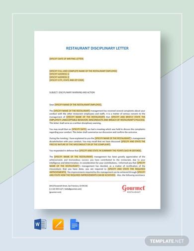 restaurant disciplinary letter template
