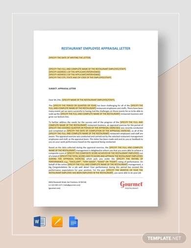 restaurant employee appraisal letter template
