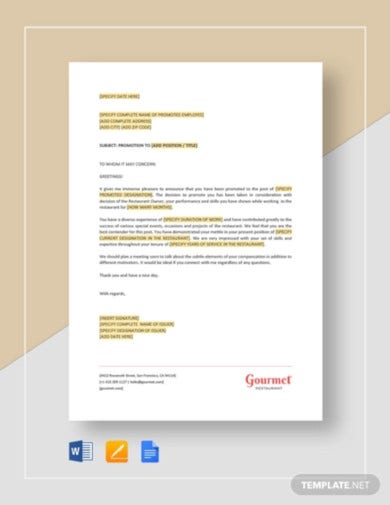 restaurant employee promotion letter template1