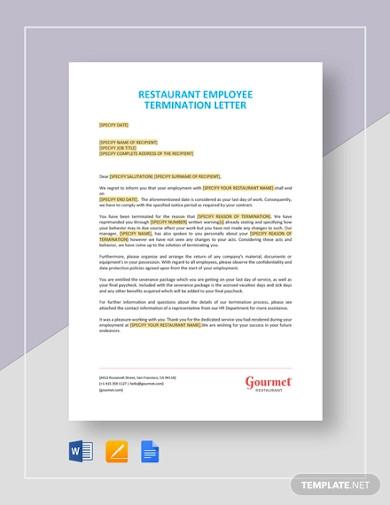 restaurant employee termination letter template