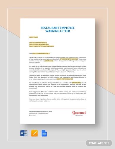 restaurant employee warning letter template1