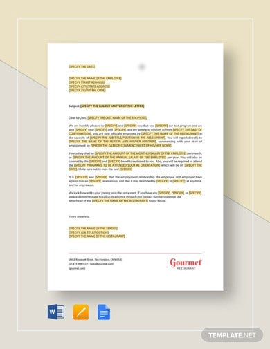restaurant-employment-confirmation-letter-template