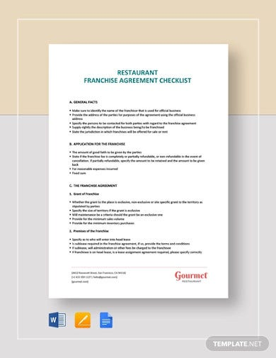 restaurant franchise agreement checklist template
