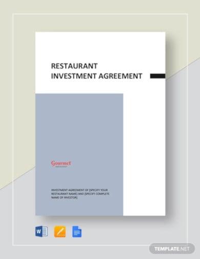 restaurant investment agreement template