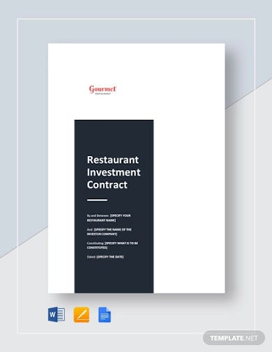 restaurant investment contract template