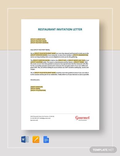 restaurant invitation letter template1