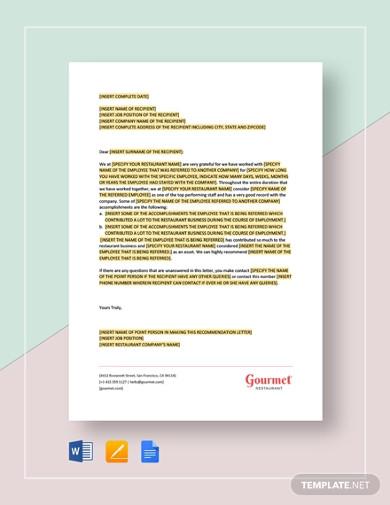 restaurant letter of reference short template1