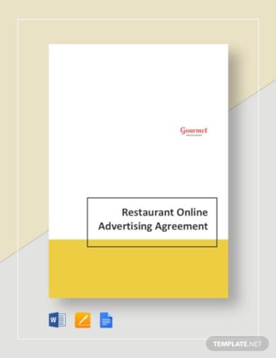 restaurant online advertising agreement template